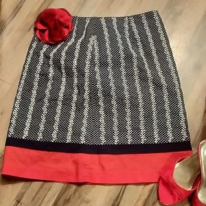 Talbots Polka Dot/Embroidered Skirt Size 6P